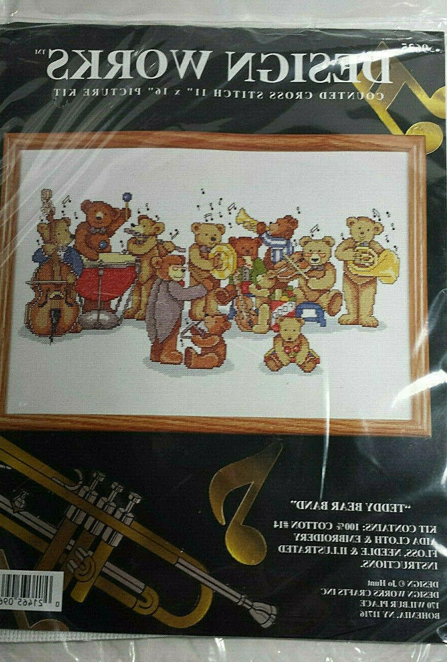 teddy bear band counted cross stitch kit
