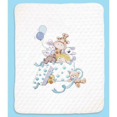 toy box baby quilt stamped cross stitch