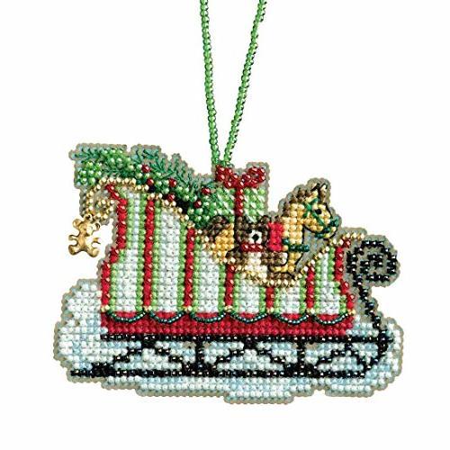 toyland sleigh beaded cross stitch