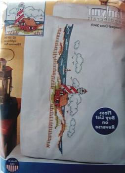 "Lighthouse Pillowcase Pair Stamped Cross Stitch, 20"" x 30"