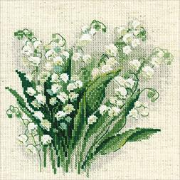 """Lilly of The Valley Counted Cross Stitch Kit, 8"""" x 8"""", 14-Co"""