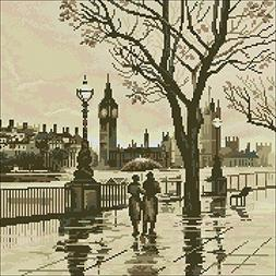 London in the Rain Cross Stitch Kit,egypt Cotton Thread 14ct