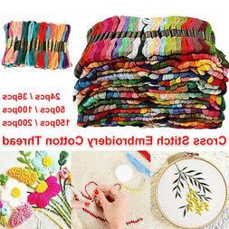 Lot 100 Multi Colors Cross Stitch Floss Cotton Thread Embroi