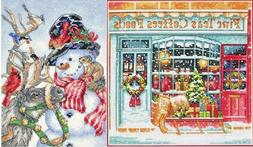 Lot of 2 Counted Cross Stitch Kits COFFEE SHOPPE Shop ~SNOWM