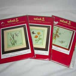 Lot of 3 Anchor Counted Cross Stitch Kits Floral - Poppies D