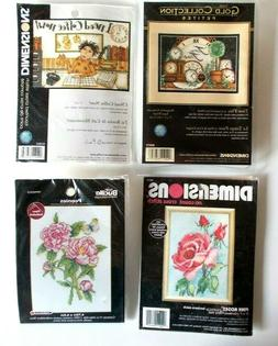 Lot of 4 Counted Cross Stitch Kits Dimensions Gold Bucilla P