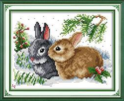 Joy Sunday Lucky Rabbits Cross Stitch Kits-14CT Counted Cros