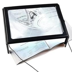 Magnifying Glass 3X Full Page Magnifier Hands-Free 4 LED Lig