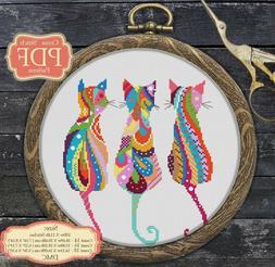 Mandala Three Cats - Cross stitch PDF Pattern - Zentangle an