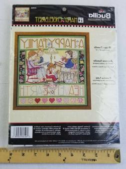 Mary Engelbreit HAPPY FAMILY Bucilla Plaid Cross Stitch Kit