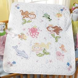 "Mermaid Bay Crib Cover Stamped Cross Stitch Kit, 34"" x 43"