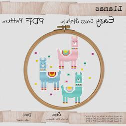 Mini Llamas  - Easy Cross stitch PDF Animals Embroidery Patt