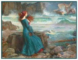 Miranda Tempest by PreRaphaelite Waterhouse Counted Cross St