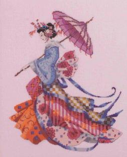 Miss Cherry Blossom Kit Cross Stitch Chart Fabric Beads Mira