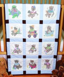 Fairway Needlecraft Stamped Baby Quilt Blocks 9 x 9 inches -