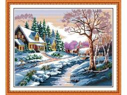 AngelGift Needlecrafts Stamped Counted Cross Stitch, Snow Sc