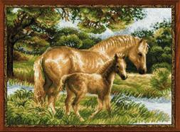"""NEW RIOLIS 1258 """"Horse with Foal"""" Counted Cross Stitch Kit A"""