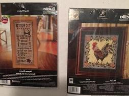 NEW Bucilla Plaid Lot of 2 Counted Cross Stitch Rooster Le C