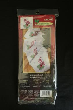 New BUCILLA Stamped Cross Stitch Napkins Kit Holiday Santa 8