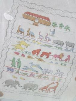 Noahs Ark Baby Quilt Stamped Cross Stitch Kit Janlynn Animal