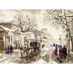 Old Street Counted Cross Stitch Kit-15.75x11.75 14 Count