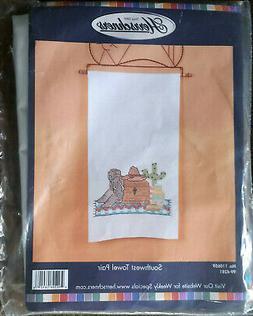 Herrschners® Pair  SOUTHWEST TOWELS  Stamped Cross-Stitch K