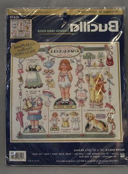 "Paper Dolls Counted Cross Stitch Bucilla 42670 13"" x 12"" Flo"