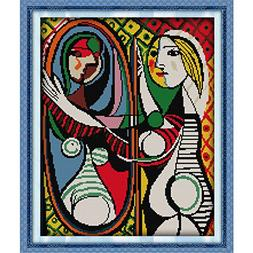 Kuwoolf Picasso's Mirror Girl 14CT Cross Stitch Sets DIY Cou