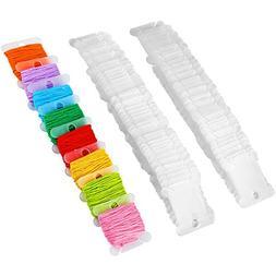 Electop Plastic Floss Bobbins 100 Pcs Embroidery Thread Card