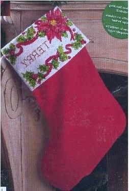 "Bucilla Poinsettia & Berries 18"" Stocking Counted Cross Stit"