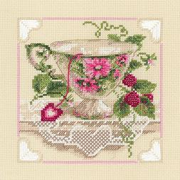 """Raspberry Tea Counted Cross Stitch Kit, 8"""" x 8"""", 14-Count"""