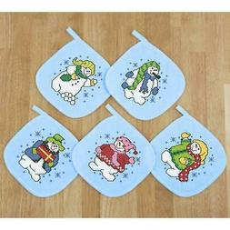 Herrschners® Roly-Poly Snowmen Pot Holders Stamped Cross-St
