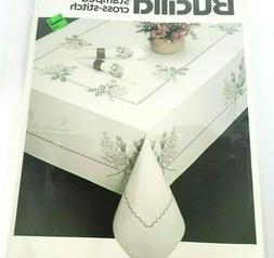 Bucilla ROSEBUDS Stamped Cross Stitch TABLECLOTH KIT #40550
