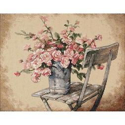 Dimensions Roses On White Chair Counted Cross Stitch Kit 14