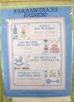 *HEART WARMER DESIGNS cross stitch sampler BABY BIRTH RECORD