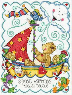 Tobin Sail Away Baby Counted Cross Stitch Kit, 11-Inch x 14-
