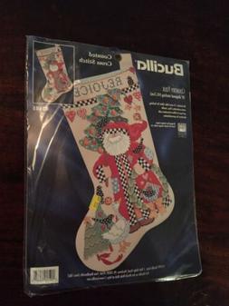 Bucilla Santa Cross Stitch Stocking Kit 83685 Country Folk
