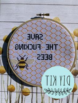Save the f*cking bees 6 inch cross stitch kit