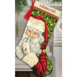 Secret Santa Stocking Counted Cross Stitch Kit-16 Long 18 Co