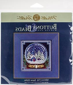 Snow Globe Cross Stitch Kit Mill Hill 2017 Buttons Beads Win