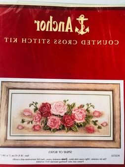 Anchor Spray of Roses Counted Cross Stitch Kit New Sealed NI