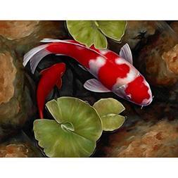 24x34cm Full Square Red Koi Fish Lotus Feng Shui Animal Land