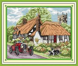 Benway Stamped Cross Stitch Cottage Vintage car and Tower 14