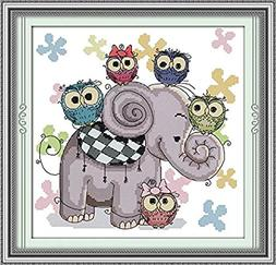 WHEEXLOCK Stamped Cross Stitch the Elephant and Owl 11 Count