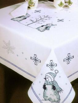 Tobin Stamped Cross Stitch Embroidery Tablecloth BLUE SNOWMA