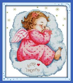 Benway Stamped Cross Stitch Kit Asleep Angel Baby Girl 11 Co