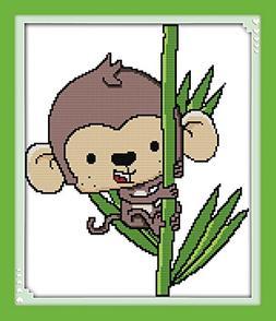 Benway Stamped Cross Stitch Kit The Monkey Climbing The Bamb