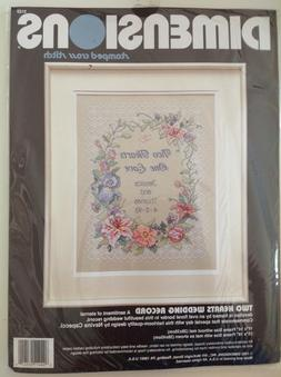 DIMENSIONS STAMPED CROSS STITCH KIT - TWO HEARTS WEDDING REC