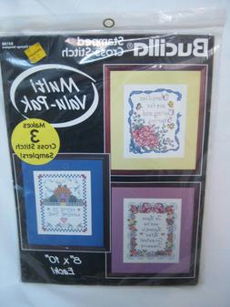 Bucilla Stamped Cross Stitch Kits 3 Pack #64188 Loving Sayin