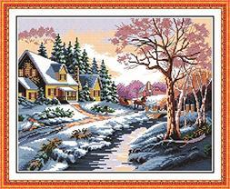 eGoodn Stamped Cross Stitch Kits Printed Pattern - Snowscape
